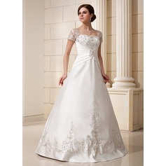 A-Line/Princess Square Neckline Floor-Length Satin Wedding Dress With Embroidered Ruffle Sequins