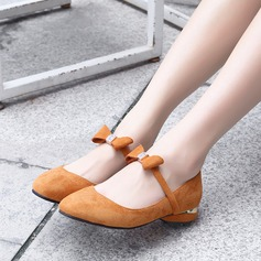 Women's Suede Flat Heel Flats Closed Toe With Bowknot shoes (086134595)