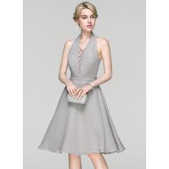 Vestidos princesa/ Formato A Cabresto Coquetel Tecido de seda Vestido de cocktail com Pregueado