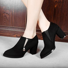 Women's Leatherette Chunky Heel Ankle Boots With Zipper Others shoes