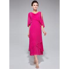 Forme Princesse col bénitier Longueur mollet Mousseline Robe de mère de la mariée avec Brodé Paillettes Robe à volants