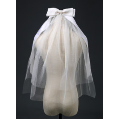Two-tier Cut Edge Elbow Bridal Veils With Ribbon (006221241)