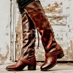 Naisten Mokkanahka Chunky heel Avokkaat Knee saappaat jossa Nauhakenkä Split yhteinen kengät