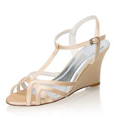 Kvinder silke lignende satin Kile Hæl sandaler Kiler med Spænde