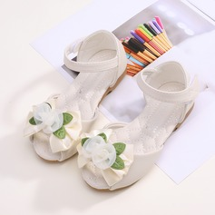 Girl's Peep Toe Microfiber Leather Flats With Bowknot Velcro