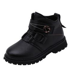 Unisexe bout rond Bout fermé Bottines Martin bottes similicuir talon plat Chaussures plates Bottes Chaussures de fille de fleur avec Dentelle Boutons