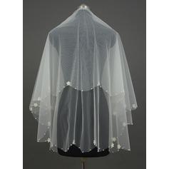 Uno capa Yema del dedo velos de novia con Borde en perla