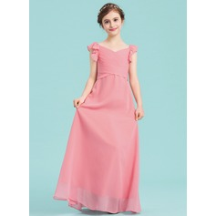 Empire V-neck Floor-Length Chiffon Junior Bridesmaid Dress With Ruffle Cascading Ruffles