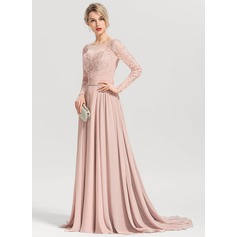 A-Line/Princess Scoop Neck Sweep Train Chiffon Evening Dress (017153654)