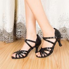 Donna Vera pelle Tacchi Sandalo Latino con Listino alla caviglia Scarpe da ballo