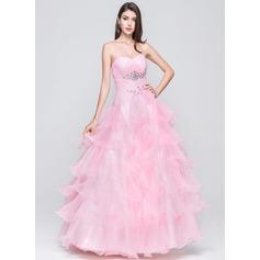 Duchesse-Linie Herzausschnitt Bodenlang Organza Quinceañera Kleid (Kleid für die Geburtstagsfeier) mit Perlen verziert Blumen Gestufte Rüschen