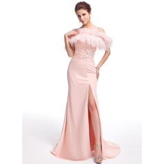 Trumpet/Mermaid Off-the-Shoulder Sweep Train Chiffon Feather Evening Dress With Beading Split Front