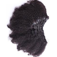 4A Ej remy Kinky Curly människohår Klämma i hårförlängningar (Säljs i ett enda stycke) 100g