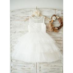 Vestidos princesa/ Formato A Comprimento médio Vestidos de Menina das Flores - Tule/Renda Sem magas Decote redondo com Apliques de Renda