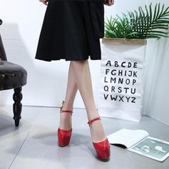 Kvinnor Lackskinn Stilettklack Sandaler Pumps Plattform Stängt Toe Slingbacks med Spänne Blomma skor