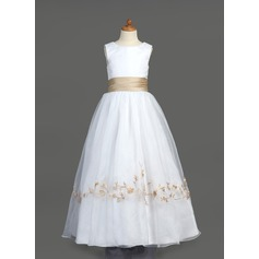 A-Line/Princess Floor-length Flower Girl Dress - Organza/Satin Sleeveless Scoop Neck With Embroidered/Sash