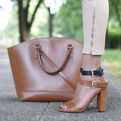 Donna PU Tacco spesso Sandalo Stiletto Punta aperta con Fibbia scarpe