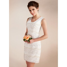 Sheath/Column Scoop Neck Short/Mini Chiffon Wedding Dress With Lace Beading
