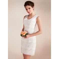 Vestido tubo Escote redondo Corto/Mini Chifón Vestido de novia con Encaje Bordado