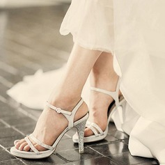 Women's Real Leather Stiletto Heel Peep Toe Platform Sandals Beach Wedding Shoes