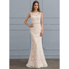 Sheath/Column Scoop Neck Floor-Length Lace Wedding Dress With Beading (002118443)