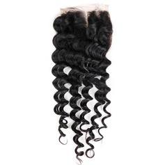 """4""""*4"""" 4A Nicht remy Tief Menschliches Haar Bedeckung (Einzelstück verkauft) 30g"""