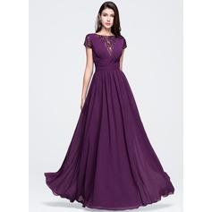 Vestidos princesa/ Formato A Decote redondo Longos De chiffon Vestido de baile com Pregueado