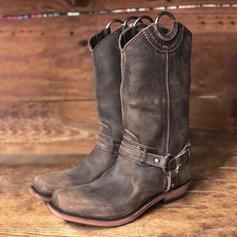 Kvinner Lær Lav Hæl Støvler med Spenne sko