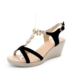 Kvinnor Äkta läder Kilklack Sandaler Slingbacks med Strass skor