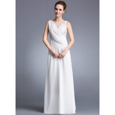 A-Line/Princess Scoop Neck Floor-Length Chiffon Holiday Dress With Ruffle Appliques Lace Split Front