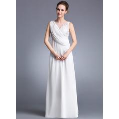 Vestidos princesa/ Formato A Decote redondo Longos Tecido de seda Vestido de Férias com Pregueado Apliques de Renda Frente aberta