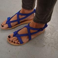 Kvinder Ruskind Flad Hæl sandaler Fladsko med Spænde sko