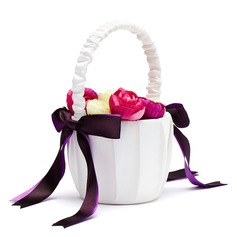 Classic Flower Basket in Satin With Bow