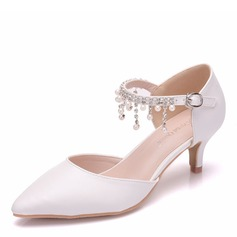 Women's Leatherette Low Heel Closed Toe Pumps Sandals With Tassel Crystal Pearl