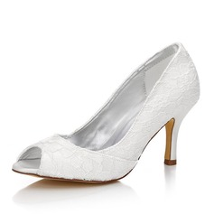 De mujer Encaje Satén Tacón stilettos Encaje Sandalias Zapatos Que Se Pueden Teñir
