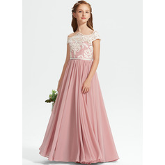 A-Line Off-the-Shoulder Floor-Length Chiffon Lace Junior Bridesmaid Dress (009234015)