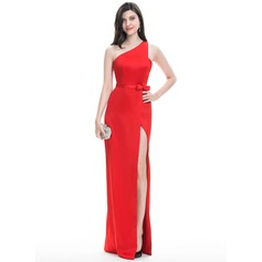 Sheath/Column One-Shoulder Floor-Length Satin Evening Dress With Bow(s) Split Front