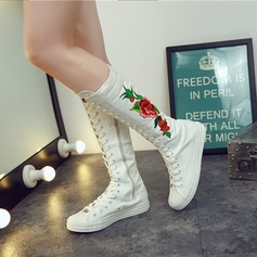Kvinner Lerret Flat Hæl Flate sko Lukket Tå Støvler med Sateng Sløyfe Glidelås Blondér sko