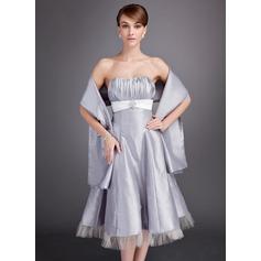 Forme Princesse Bustier en coeur Longueur mollet Taffeta Robe de demoiselle d'honneur avec Plissé Ceintures Broche en cristal