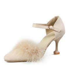 Kvinner Semsket Stiletto Hæl Sandaler Pumps med Spenne sko