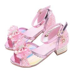 Mädchens Peep Toe Leder niedrige Ferse Sandalen Blumenmädchen Schuhe mit Bowknot Schnalle