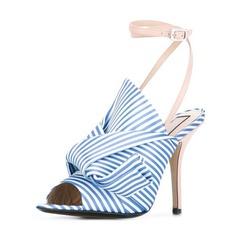 Kvinnor Tyg Stilettklack Sandaler Pumps Peep Toe med Bowknot skor