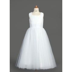 A-Line/Princess Tea-length Flower Girl Dress - Tulle/Sequined Sleeveless Square Neckline With Ruffles