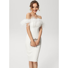 Sheath/Column Off-the-Shoulder Knee-Length Stretch Crepe Cocktail Dress With Feather (016230200)