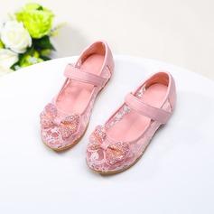 A menina de imitação de couro Heel plana Toe rodada Sem salto com Bowknot Espumante Glitter Velcro
