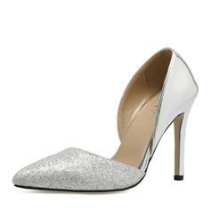 Vrouwen Patent Leather Sprankelende Glitter Stiletto Heel Pumps Closed Toe met Gesplitste Stof schoenen