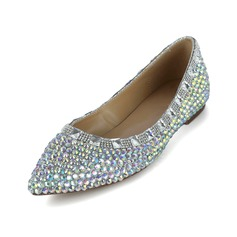 Patent Leather Flat Heel Closed Toe met Strass schoenen (086038299)