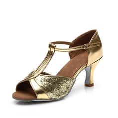 Vrouwen Sprankelende Glitter Hakken Sandalen Latijn met T-Riempjes Dansschoenen