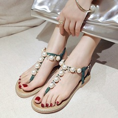 Women's Leatherette Flat Heel Flats Sandals Beach Wedding Shoes With Buckle Imitation Pearl