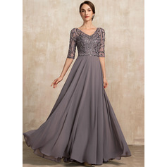 A-Line V-neck Floor-Length Chiffon Evening Dress With Beading Sequins (017228610)